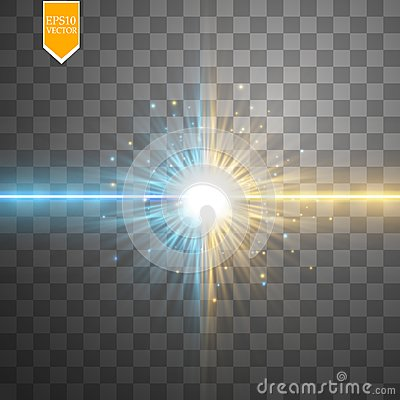 Free Star Clash And Explosion Light Effect, Neon Shining Laser Collision Surrounded By Stardust On Transparent Background Royalty Free Stock Photography - 107811667