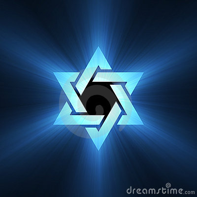 Star of David blue light flare