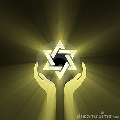Star of David hand light flare