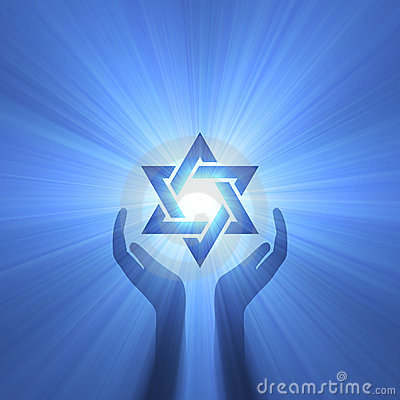 Star of David hand support light flare