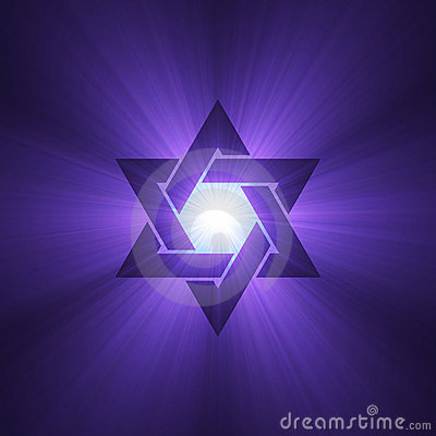 Star of David purple light flare