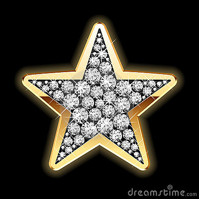 Star in diamonds. Detailed illustration.