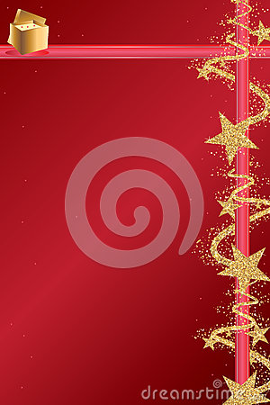Free Star Golden Glitter Ribbon Red Page Stock Photography - 64313462