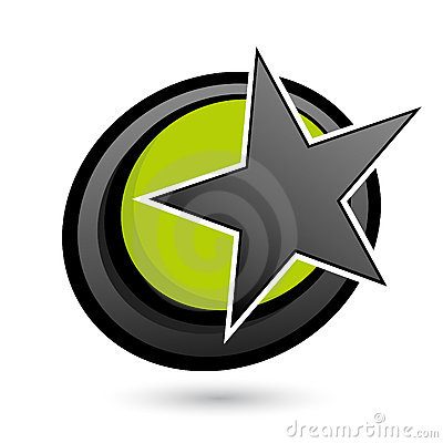 Star on green and black circle