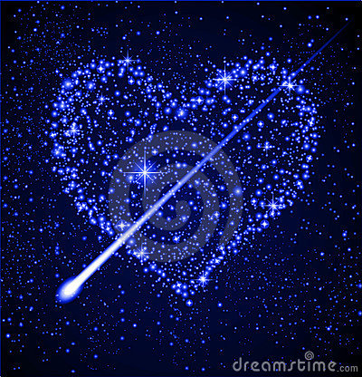 Star heart in night sky