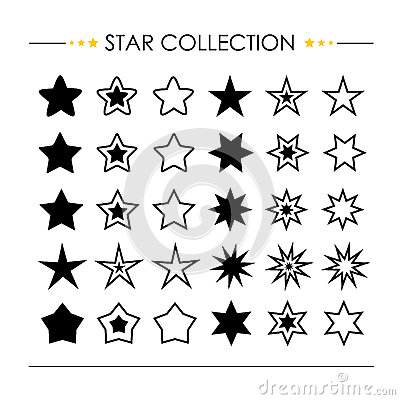 Free Star Icon Collection Vector Royalty Free Stock Photography - 48184157