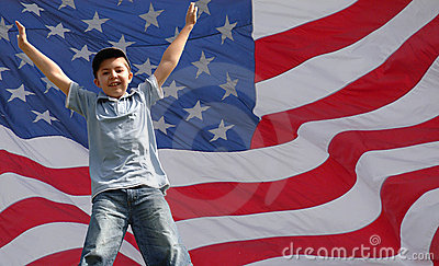 A Star jumping boy in front of usa flag
