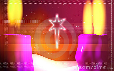 Star with lighting candle
