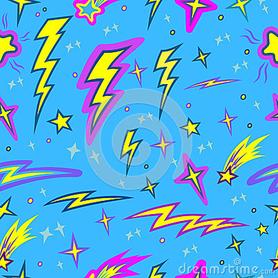 Star and lightning seamless pattern