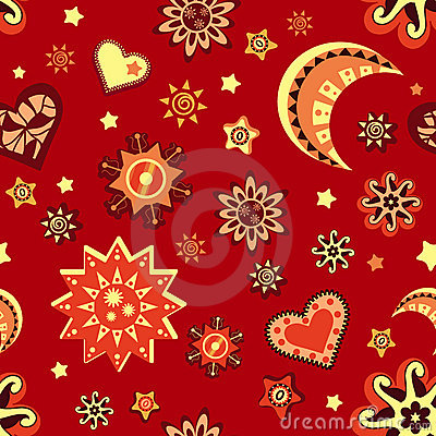 Star and moon seamless pattern