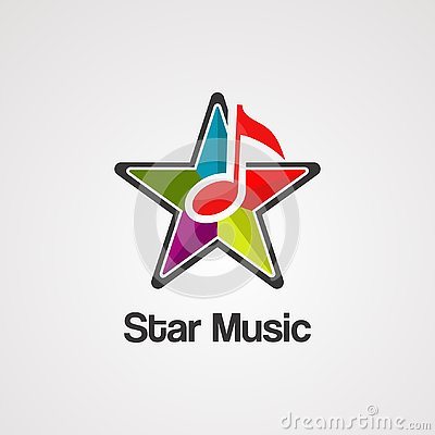 Star music logo vector, icon, element, and template Vector Illustration