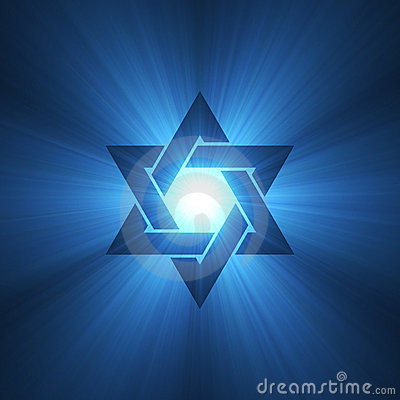 Free Star Of David Symbol Blue Light Flare Royalty Free Stock Photo - 3395635