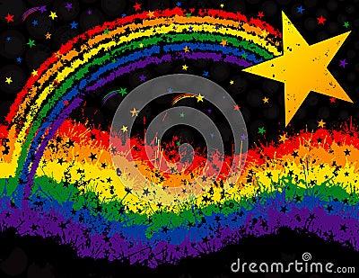 Star and rainbow grunge