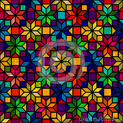 Free Star Shape Colorful Geometric Stained Glass Seamless Pattern, Vector Stock Photo - 59620860
