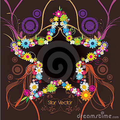 Star shape with flowers  illustration