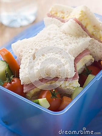 Star Shaped Egg Mayonnaise and Ham Sandwich