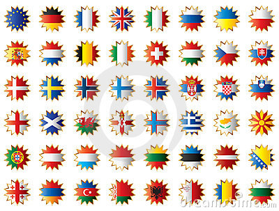 Star shaped flags set - Europe