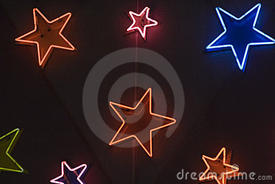 Star shaped neon lights