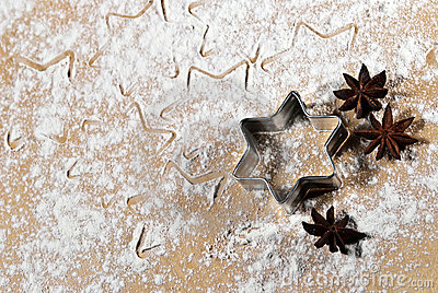 Star-shaped and star anise in the flour V1