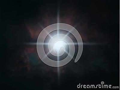 Star shining in night sky