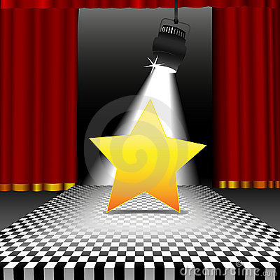 Star in spotlight on disco checker floor