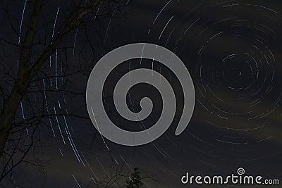 Star streaks in night sky