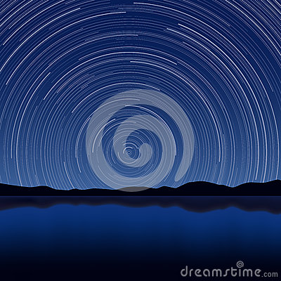 ... Layered vector illustration of star trail with long exposure effect Longexposure