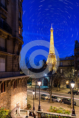 Free Star Trail At The Eiffel Tower Stock Images - 90316034
