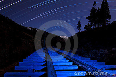 Star Trail and Blue Light Flume