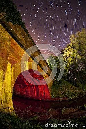 Star trail of a canal bridge