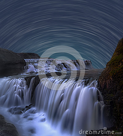 Free Star Trail With Waterfall Stock Photography - 89779352