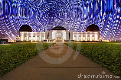 Star Trails Behind the Griffith Observatory Editorial Image