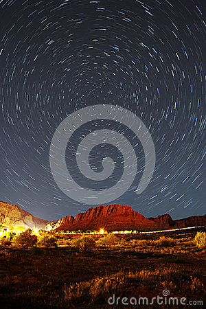 Free Star Trails Over Snow Canyon Utah Stock Images - 59992804