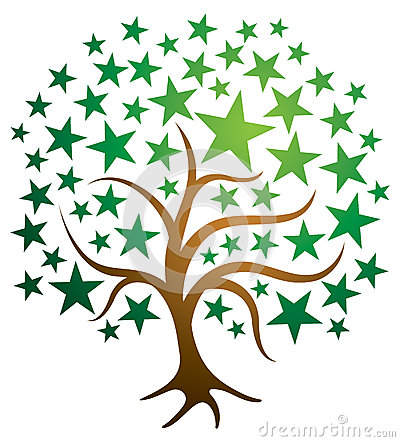 Star Tree Logo Vector Illustration