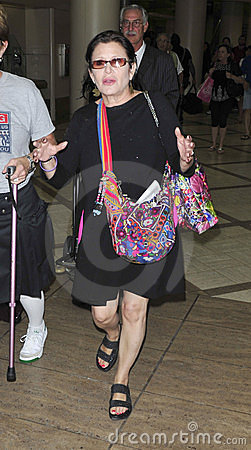 Star Wars actress carrie Fisher at LAX Editorial Stock Image