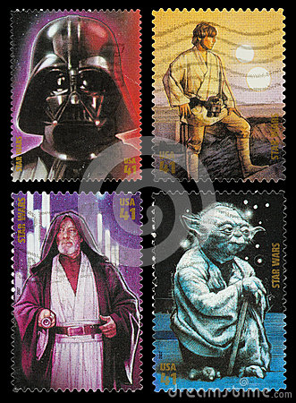 Star Wars Character Postage Stamps Editorial Stock Image