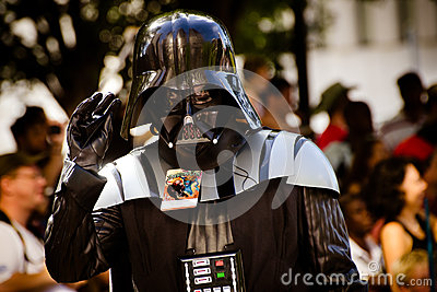 A Star Wars fan dressed as Darth Vader Editorial Stock Image