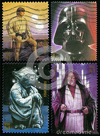 Star Wars US Postage Stamps Editorial Photo