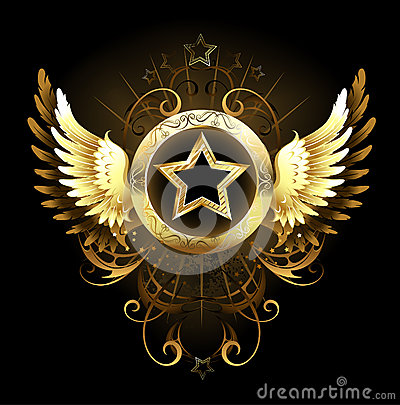 Free Star With Golden Wings Stock Image - 33913611