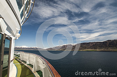Starboard view of Akureyri mountains
