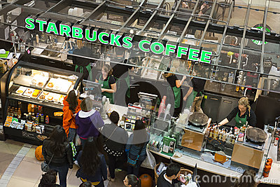 Starbucks Coffee Shop in Shopping Mall Editorial Photography