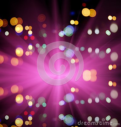 Free Starburst And Night Traffic Lights Of The Big City Royalty Free Stock Images - 45127759