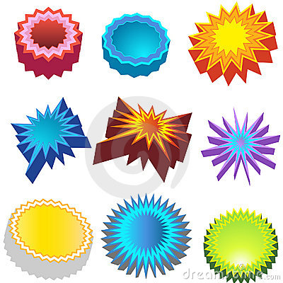 Starburst Stickers: Bursters 3D