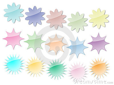 Starburst Stickers in Pastel Colors