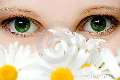 Stare of green women eyes