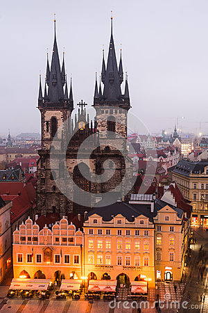 Stare Mesto Square in Prague with Tyn Church. Editorial Stock Photo