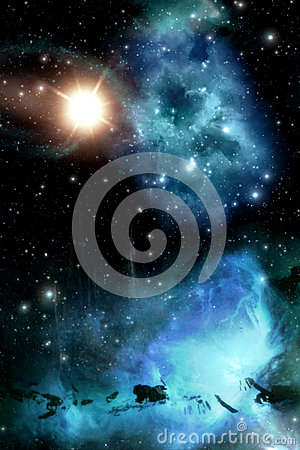 Free Starfield With Nebula And Sun Background Stock Photography - 42853322