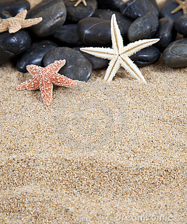 Starfish black stones and sand