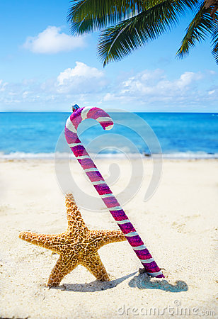 Starfish with Christmas decoration - holiday concept