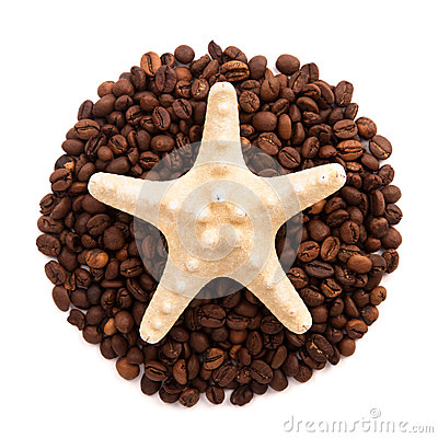 Free Starfish Lie On The Circle Of Coffee Beans Isolated Stock Photography - 46106302